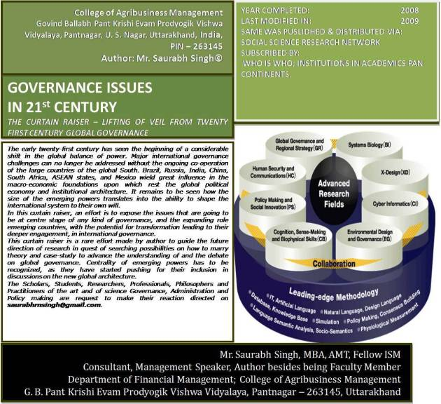Cover Page Photograph of Case Authored: Governance in 21 st Century