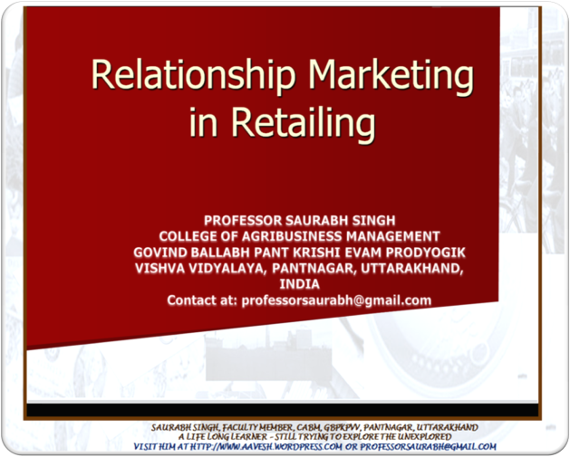 Relationship Marketing in Retailing
