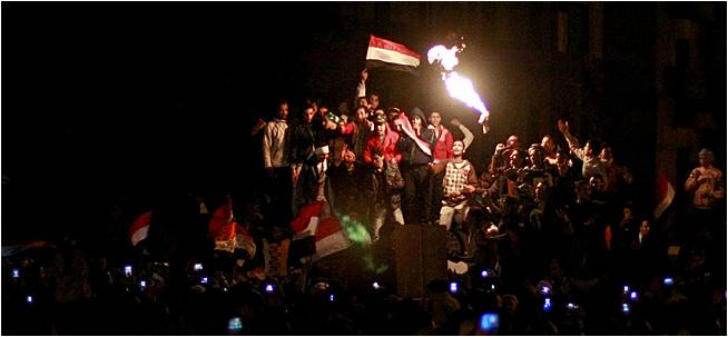 Celebrations in Egypt as Announcement of Mubarak Leaving the office comes