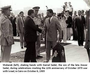 Mubarak with son of Slain President Sadat